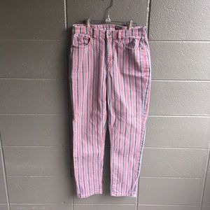 American Eagle Striped Straight Leg Jeans Size 4